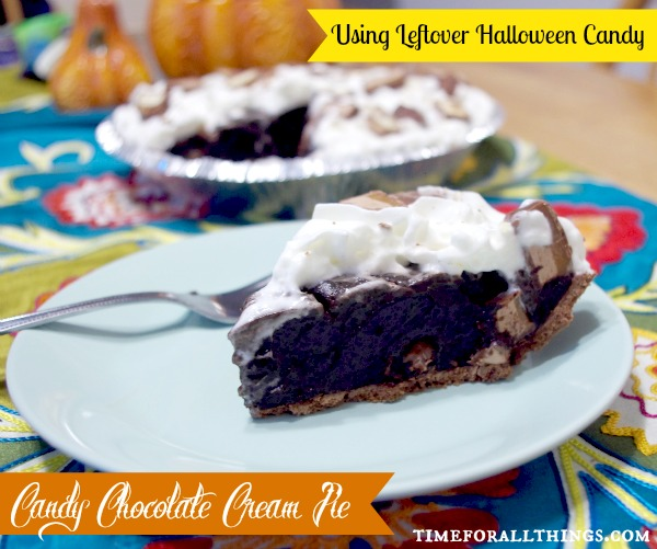 Using Leftover Halloween Candy - Candy Chocolate Cream Pie